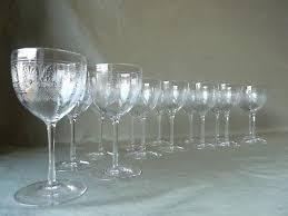15 antique edwardian acid etched crystal port wine glasses probably baccarat