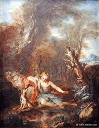 narcissus greek mythology link 3210 narcissus in love his image 1728 painting by francois lemoyne 1688 1728 hamburger kunsthalle