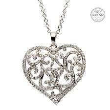 trinity knot heart shaped pendant and chain