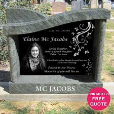 Granite Lapida Design Laser Etched Granite Headstone In Right Wave Shape With
