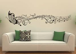 butterfly musical scale art look mysterious cream wall white sofa batik pattern green pillows elegant decoration on room wall art design with wall art beautiful gallery wall art designs wall decor designs