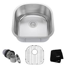 kraus undermount stainless steel 20 in single bowl kitchen sink kit kbu15 the home depot