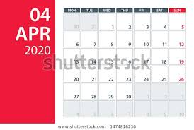 April 2020 Template April 2020 Calendar Planner Vector Illustration Stock Vector