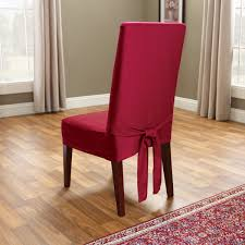 romantic red slipcovers for dining room chairs with admirable wooden floor and red rug