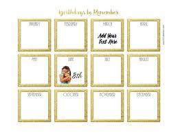 Free Birthday Calendar Printable Customizable Many