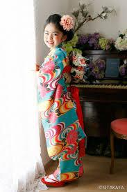 7歳 お衣装セットno7 28大正渦巻 ターコイズ アンティーク着物