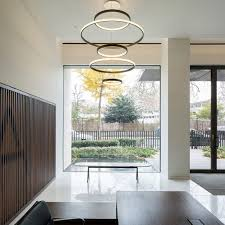 contemporary chandelier brushed metal polished metal led aura