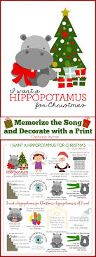 I Want a Hippopotamus for Christmas Print and Song to Memorize! A fun  Christmas activity