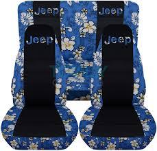 jeep wrangler blue hawaiian and black seat covers with jeep logo