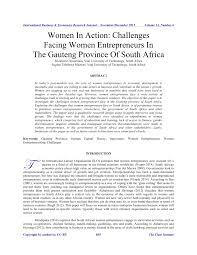 women in action challenges facing women entrepreneurs in the women in action challenges facing women entrepreneurs in the gauteng province of south africa pdf available