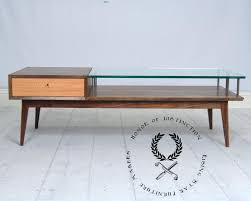 mid century modern glass coffee table a figured walnut and coffee table with glass this table