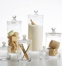 elegant glass bathroom canisters best 25 apothecary jars bathroom ideas on spa