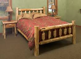 Pine Log Bedroom Furniture Log Bed Frames Cabin Log Themed Bedroom With 2 Rustic Drawer