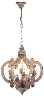 White Distressed Painted Wood 6 Light Chandelier/Pendant/French Country/Shabby  Chic/Custom To Paint A