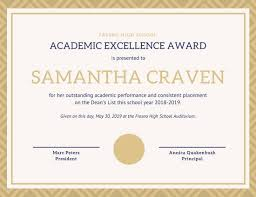 Academic Excellence Certificate Templates By Canva