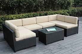 wicker patio furniture. Beautiful Patio Ohana Mezzo 7Piece Outdoor Wicker Patio Furniture Sectional Conversation  Set Black With With 6