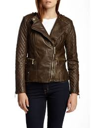 vince camuto quilted asymmetrical zip leather moto jacket olive m