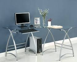 metal and glass desk glass top metal desk image of l shaped glass desk style black