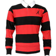 university of alabama l s rugby shirt crimson and black