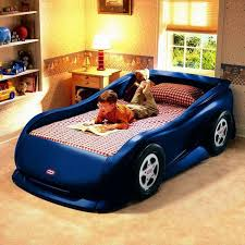 cute little tikes blue sports car bed shape with plaid red beddin sets also cone table lamp shade plus under mount wall shelves