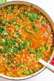 spinach lentil soup recipe with green lentils diced tomatoes and lots of parmesan cheese i