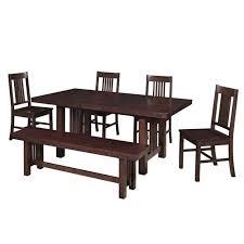 walker edison 6 piece meridian wood dining set in cappuccino