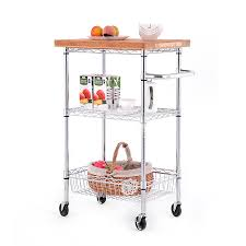 style selections 3 tier chrome utility kitchen cart