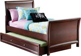 Ivy League Cherry 4 Pc Twin Sleigh Bed w Trundle - Trundle Beds Dark Wood