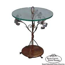 glass top side table vintage gilt metal flower round glass top side table circa glass top
