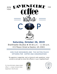 Coffee With A Cop Flyer Coffee With A Cop The Town Of Dayton