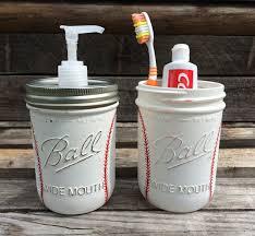 Bathroom Gift Hand Painted Baseball Soap Dispenser Baseball Bathroom Set