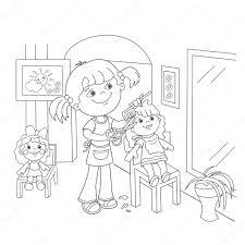 Kleurplaat Pagina Overzicht Van Meisje Speelt In De Kapper