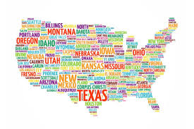 United States Usa Map States City Names Word Cloud Collage Educational Chart Cool Huge Large Giant Poster Art 54x36