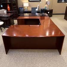 used left u shaped executive office desk cherry deu1531 004