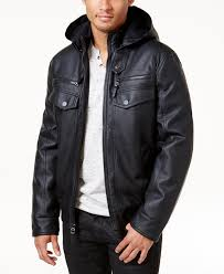 i n c men s faux leather hooded er jacket created for macy s inc international concepts deep black