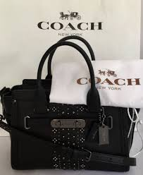 coach 56831 bandana rivets swagger 27 glovetanned leather dk black see note