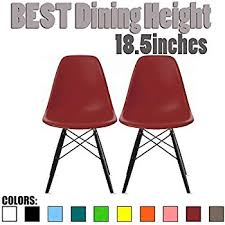 2xhome set of two 2 eames style side chair black wooden legs eiffel dining room chairs no arm arms armless molded plastic seat dowel legs red