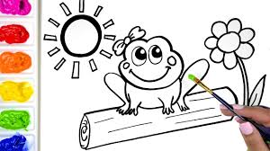 coloring a cute frog coloring book drawing a frog and a flower coloring page