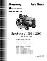 1692454 simplicity sunstar 20 hp hydrostatic lawn tractor parts manual location