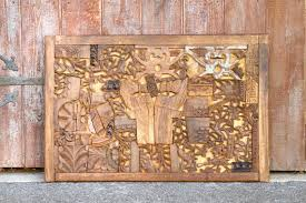 carved wood block wall artwooden carved