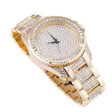 mens gold bling watch men s gold plated simulated diamond hip hop rapper watch bracelet set xl bling