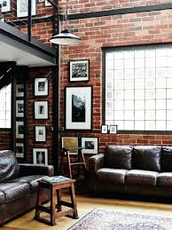 the brick living room furniture. Industrial Living Room Furniture Extraordinary Rustic Ideas Brick Wall Dark Brown Leather The