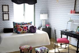 tiny apartment furniture. Floral Pillows Complement Geometric Wallpaper In Feminine Studio Apartment Tiny Furniture G