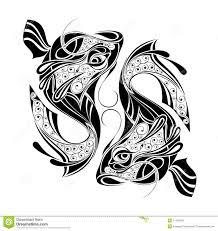 зодиак колеса Tattoo знака Pisces конструкции иллюстрация вектора