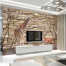 Free Shipping Custom 3D Stereo Custom Wood Wallpaper TV Background Sofa  Living Room Giraffe Wallpaper Mural