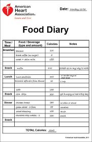Printable Food Diary Calorie Keeper Heres To Health Food