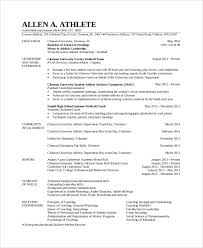 sample athletic resumes student athlete resume sample student resume 7 documents in pdf word