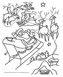 Small Picture Christmas Santa Coloring Page Santa and the Reindeer fly away