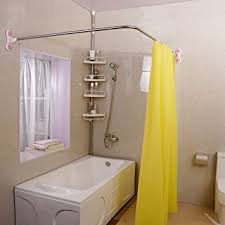 curtain dazzling curved shower bar 15 com baoyouni rod suction cups l comfy rounded and