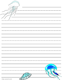Free Printable Kindergarten Writing Paper Jellyfish Writing Paper